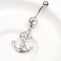 Charming Dangle Bar Crystal Navel Belly Ring With Pirate Ship Anchor Pendant Fashion Piercing Body Jewelry = 1695539396