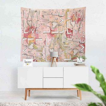 Wall Art Tapestry 'Laugh Love Live' floral