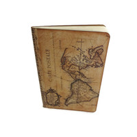 Travel Journal Notebook,  World Maps Journal, Altered Notebook, Atlas Journal, Geography Journal, Wanderlust,  New World / Old World Journal