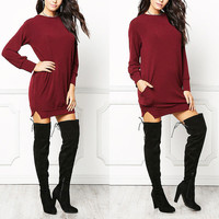 2016 Autumn Winter Women Fashion Long T-shirt Dress Solid Color Casual Ladies O Neck Long Sleeve Side Split Tops Tee Blusas