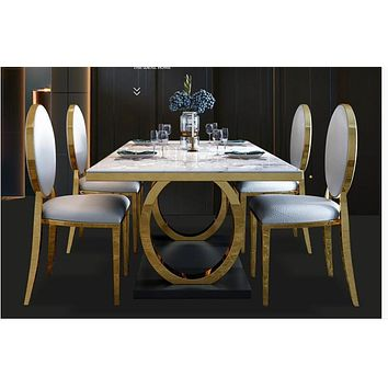 Stylish Golden White Marble Dining Table