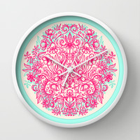 Spring Arrangement - floral doodle in pink & mint Wall Clock by micklyn | Society6