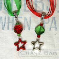 Tiny Christmas Cookie Cutter Pendant on Ribbon Necklace, Christmas Jewelry, Holiday Jewelry