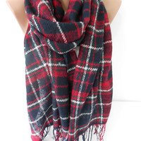 Plaid Scarf Chunky Infinity Scarf Circle Scarf Cozy Winter Flannel Loop Scarf Christmas Gifts Women Fashion Accessories Gift Ideas For Her