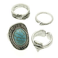 4 PC Aged Silver Turquoise Ring SET