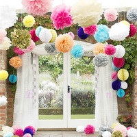 "10pcs 6"" 8"" 10"" 12"" 15"" Tissue Paper Pom Flowers Balls Wedding Party Decor new = 1931848004"