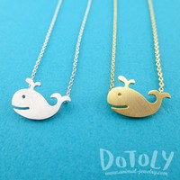 Happy Smiling Whale Pendant Necklace in Gold or Silver