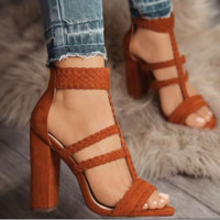 Hot style sexy braided sandals with thick heels