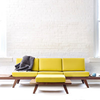 Handmade Solid Wood Walnut Sofa - Midcentury Modern Style Couch with Ottoman, Side Tables, and Custom Upholstery