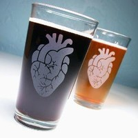 2 Anatomical Heart Pint Glasses by BreadandBadger on Etsy