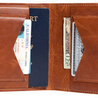 Leather Passport Wallet, Whiskey, Wallets