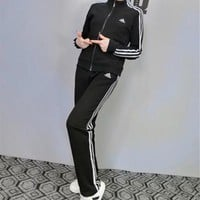 """Adidas"" Fashion Casual Stripe Letter Print Long Sleeve Zip Cardigan Set Two-Piece Sportswear"