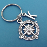 Initial, Compass, Keychain, Keyring, Compass, Key, Chain, Initial, Key, Ring, Personalized, Customized, Gift, Idea, For Him, For Her