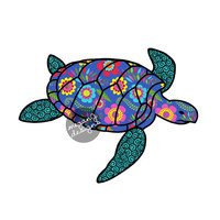 Sea Turtle Car Decal Colorful Blue Floral Pattern Beach Bumper Sticker Teal Green Pink Turquoise
