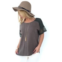Cast Away Linen Top in Olive