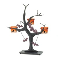 Sparkling And Eerie Halloween Bat Candle Holder