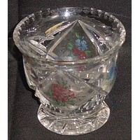 999196 Small Glass Vase With 4 Diamond Cut Satined Panels Of Painted Flowers