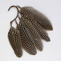 Anni Jürgenson ? NEW! Ear cuff with guinea hen wing feathers