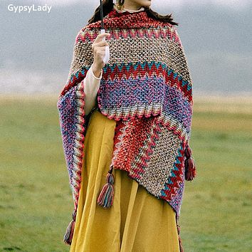 GypsyLady Vintage Boho Cloaks Capes Top Red Women Autumn Winter Floral Knitted Poncho Capes Tassels Chic Cloak Poncho Outwear