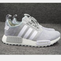 Adidas NMD Fashion Sneaker sports shoes gray-white line High quality H-MDTY-SHINING