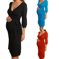 Women Maternity Dress V-Neck Pregnancy Clothes Nursing Dress Size 8 10 12 14 16 = 1946299716