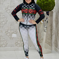Gucci GG new gradient fashion ladies digital printing two-piece suit top + pants