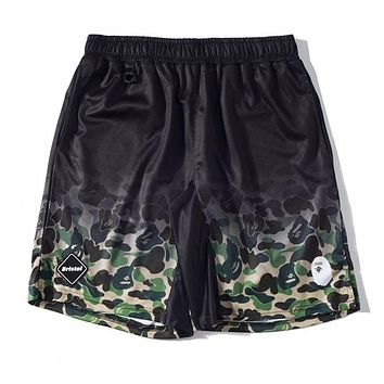 BAPE AAPE Summer Popular Men Print Sports Running Shorts Black