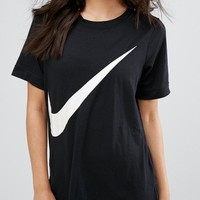 nike swoosh big logo black tee t shirt