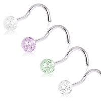 316L Surgical Steel Screw Nose Ring with Acrylic Glitter Ball