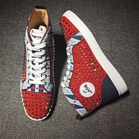 Christian Louboutin CL Louis Spikes Style #1901 Sneakers Fashion Shoes Online