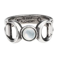 Alchemy Gothic Triple Goddess Crescent Full Moon Ring