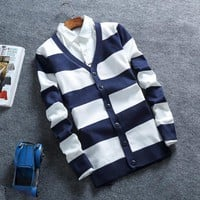 Men's Striped Button Up Cardigan