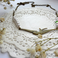 Minimal Statement necklace Swallow - Fashion jewelry - Gift for her