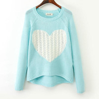 Print Love Heart Nobel Asymmetry Crochet Sweater