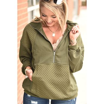 Carry On Half Zip Pullover - Olive