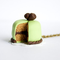 Pistachio cake necklace - marzipan green cake pendant - chocolate cake miniature - polymer clay green necklace