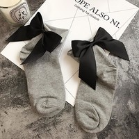 Bow Tie Harajuku Cool Female Essential Hollow Thin Black Fishnet Short Socks Women Sexy Summer Ankle Socks Color 21-34