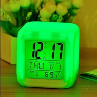 New LED Cute 7 Colour Backlight Modern Digital Alarm Clock Desk Gadget Digital Alarm Thermometer Night Glowing Cube LCD Clock