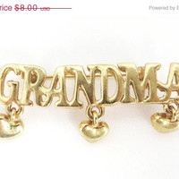 Vintage Grandma Brooch Pin with Dangling Hearts, Christmas Gift For Her