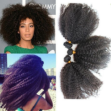 Romantic Angels® 18'' Afro Kinky Curly Human Hair Extensions 1 Bundle Hair Weft for Black Women
