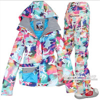 2016 new Ski suit set women's Snowboard jacket and pants ski suit Women windproof waterproof Women's winter jackets free deliver
