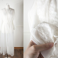 Vintage 60s Sheer Robe | White Nightgown 50s Lingerie 60s Lingerie Rockabilly Pin Up Burlesque Bombshell Vintage Nightgown Vintage Robe