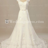 Lace Vintage Wedding Dress with Cap Sleeves BG167