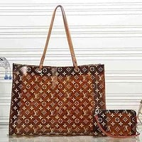 LV Louis Vuitton Women's Transparent Shopping Bag Handbag Tote Bag Shoulder Bag Two-Piece Set