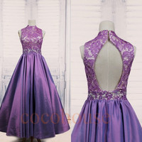 Purple Beaded Lace Taffeta Long Prom Dresses, Back Open Prom Dresses, Fashion Evening Dresses, Party Dress,Wedding Party Dresses,Formal Wear