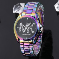 Michael Kors New fashion dial diamond letter multicolor watchband women watch