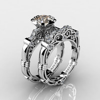Art Masters Caravaggio 14K White Gold 1.0 Ct Champagne and White Diamond Engagement Ring Wedding Band Set R623S-14KWGDCHD
