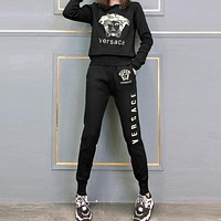 VERSACE Women Casual Fashion Top Sweater Pullover Pants Trousers Set Two-Piece
