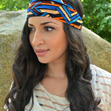 Geo Head Band, Stretch Head Wrap