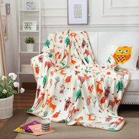 Flannel Printed Flowers white cartoon children Animal Winter Warm throw for Bed travel blankets sofa plane for home travel beddi